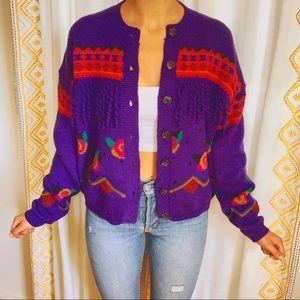 VTG 80s Funky Knit Fringe Cardigan Sweater